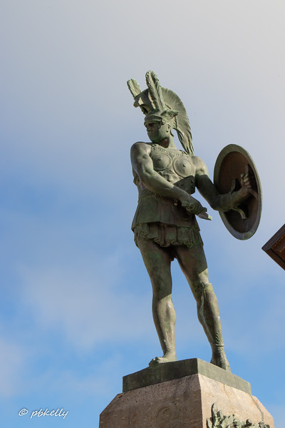 Statue of a Sannite warrior in the town of Pietrabbondante.
