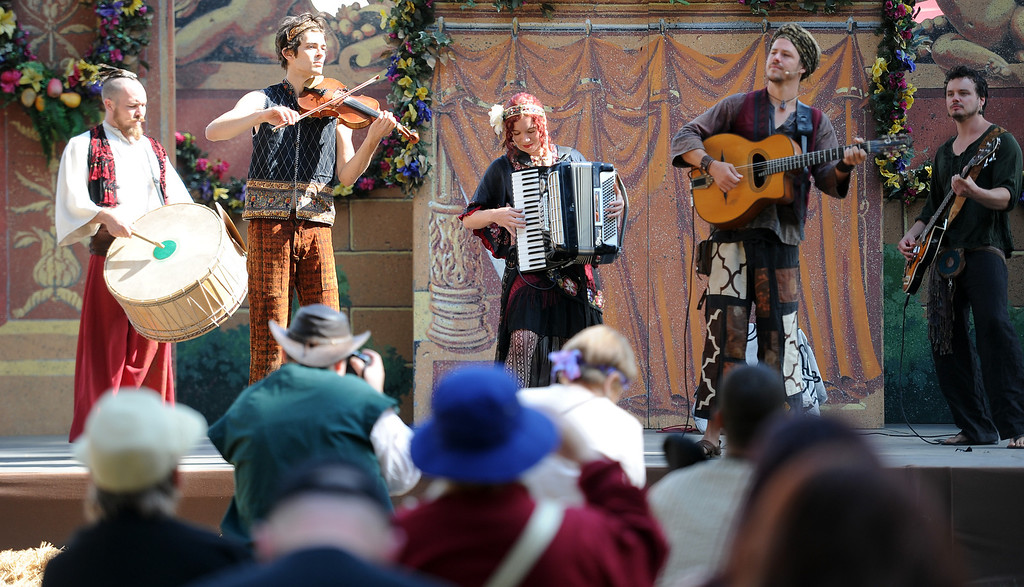 . Musicians perform during Opening day of the Renaissance Pleasure Faire as many dress in period clothing at Santa Fe Dam Recreation Area in Irwindale, Calif., on Saturday, April 5, 2014. 