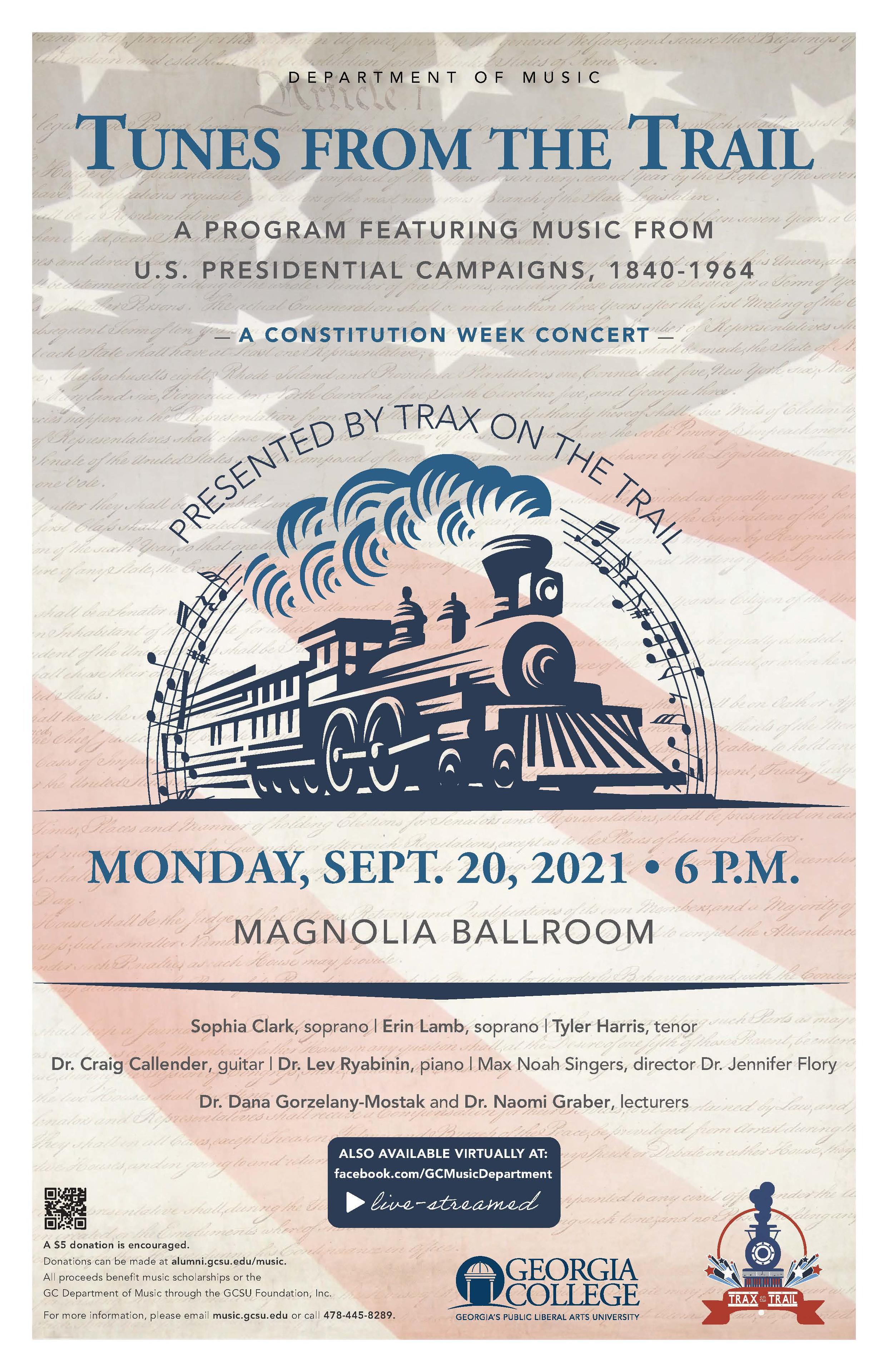 Please join us Monday, Sept. 20, 6 pm for our Constitution Week Concert.