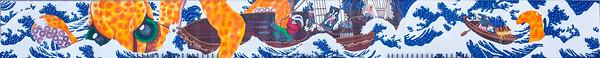 Hokusai inspired mural in Old Town Eureka.