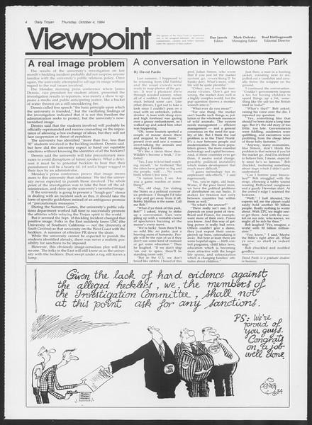 Daily Trojan, Vol. 97, No. 23, October 04, 1984