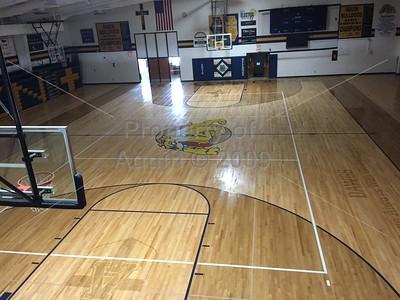 aquin gym floor renovation . 7.31-8.13.18