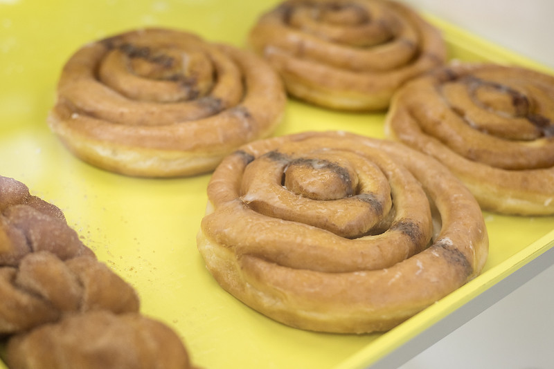 Cinnamon rolls at UT Donuts & Tacos in Tyler, Texas, on Wednesday, Aug. 23, 2017. The new restaurant serves donuts, kolaches, tacos, seafood and more across from The University of Texas at Tyler's campus. (Chelsea Purgahn/Tyler Morning Telegraph)