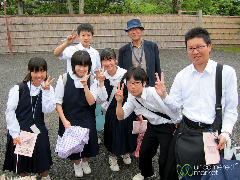 Japanese School Kids at Nijo Castle  - Kyoto, Japan