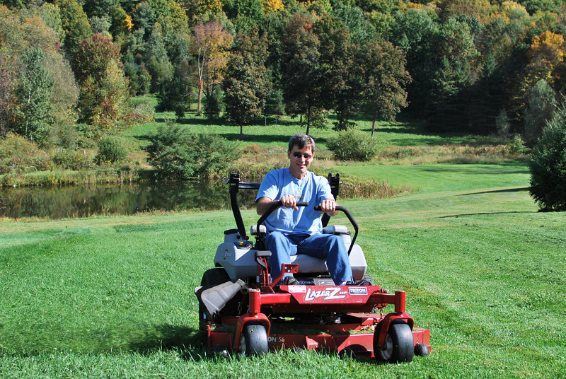 Now he is really mowing.