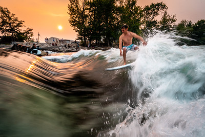 Smoky Sunset Surf at the Boise River