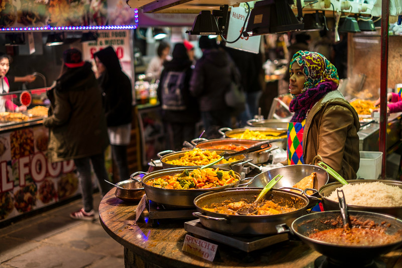 Street food stalls, Camden, London, United Kingdom