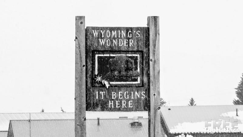 "Wyoming's Wonder ""It Begins Here"" Sign Near Kemmerer, Wyoming"
