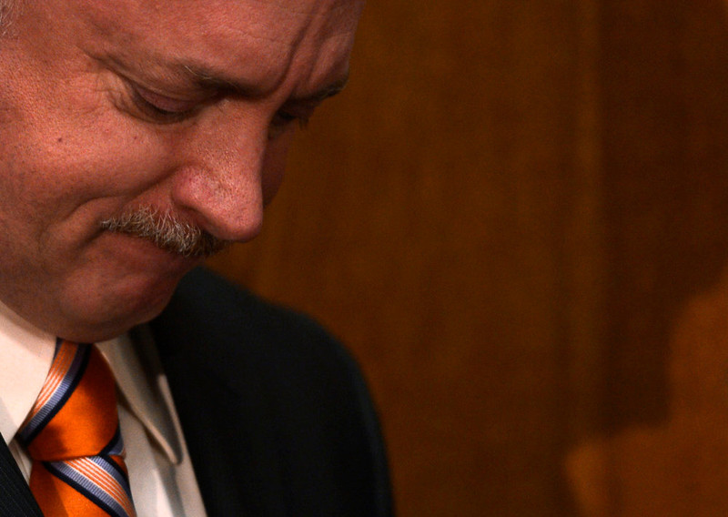 . Mark Kelly, the husband of former U.S. Rep. Gabrielle Giffords, speaks to media before testifying before Colorado lawmakers on a universal background check bill for private gun sales, March, 04, 2013, at the Colorado State Capitol. Kelly addressed the Senate State, Veterans, and Military Affairs Committee in support of House Bill 1229. (Photo By RJ Sangosti/The Denver Post)