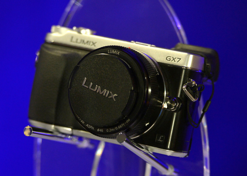 . The new Panasonic Lumix GX7 is on display during the Panasonic news conference at the 2014 International Consumer Electronics Show Monday, Jan. 6, 2014, in Las Vegas. (AP Photo/Jack Dempsey)