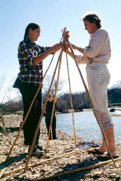 Ellen and Tim constructing the sweat lodge on the banks of Swan Creek. May, 1979