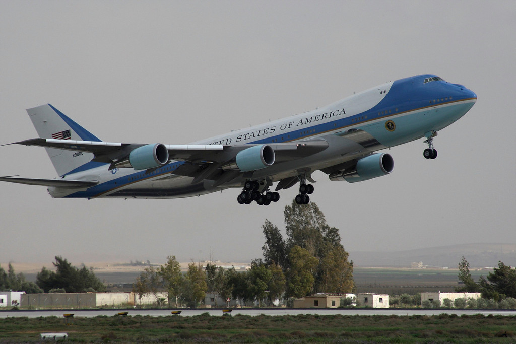 . Air Force One, carrying U.S. President Barack Obama, leaves Amman airport March 23, 2013. Obama marvelled at the sights of Jordanís ancient city of Petra on Saturday as he wrapped up a four-day Middle East tour by setting aside weighty diplomatic matters and playing tourist for a day. REUTERS/Majed Jaber