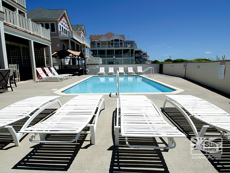 The oceanside pool is ready for your party.