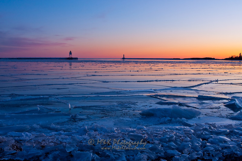Sunset on Iced-in Grand Marais Harbor-5603