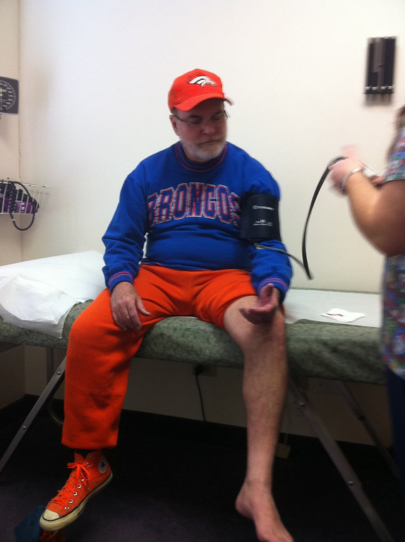 . My dad got bit by a dog right before the broncos V Bills games started on Christmas Eve, 2011. My Dad ( being a devoted fan) told my Mom that he would get stitches after the game, but my Mom made him go right away. We missed the first 3 quarters and the Broncos took a beating. Let\'s just say that this was a situation that even Tim Tebow couldn\'t fix. Go Broncos!¬�