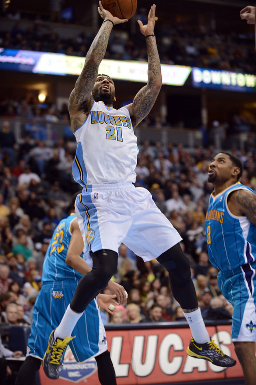 . DENVER, CO. - FEBRUARY 01: Denver Nuggets Wilson Chandler #21 jumps for the basket in the 2nd half of the game against New Orleans Hornets on February 1, 2013 at the Pepsi Center in Denver, Colorado. Denver won 113-98. (Photo By Hyoung Chang/The Denver Post)