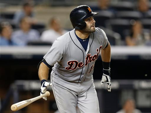 . Detroit Tigers\' Alex Avila watches his 12th-inning solo home run in a baseball game against the New York Yankees at Yankee Stadium in New York, Tuesday, Aug. 5, 2014. The Tigers defeated the Yankees 4-3 in 12 innings. (AP Photo/Kathy Willens)