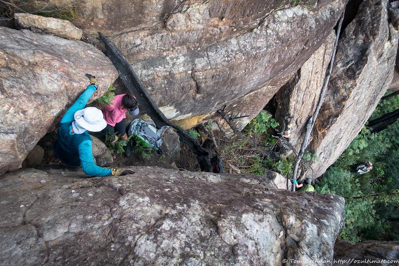 Zoltan on the climb down