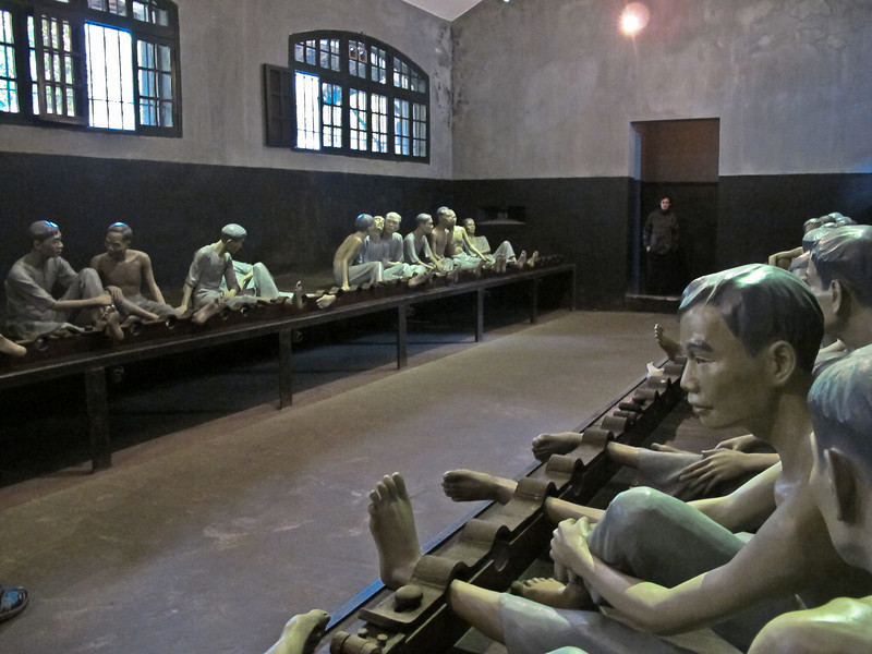 """A room in the """"Hanoi Hilton,"""" the prison where Sen. John McCain was imprisoned.  The French built this prison near the turn of the century, with construction completed in 1901.  U.S. soldiers were imprisoned here from August 11,1964 to March 28,1973.  http://www.farfromglory.com/hanoihilton.htm"""