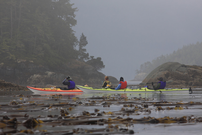"""Kayaking though the """"blowhole"""" towards the strait."""