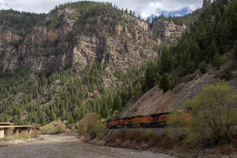 The Colorado River and a freight train near Glenwood Springs, Colorado, on April 26, 2019. Photo by Mitch Tobin/The Water Desk