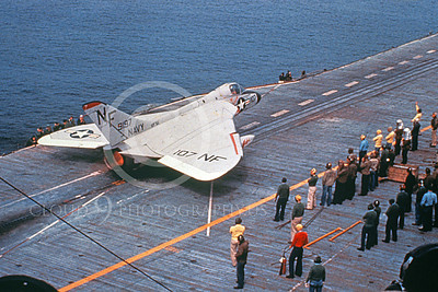 US Navy Douglas F4D-1 Skyray Airplane Aircraft Carrier Scene Pictures