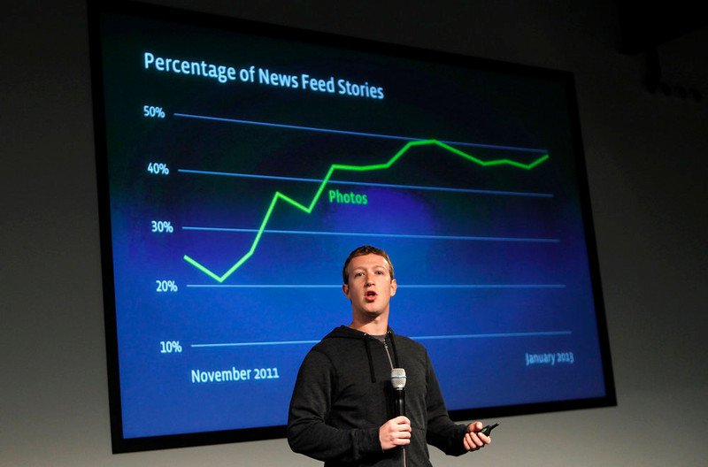 . Facebook CEO Mark Zuckerberg gestures while speaking to the audience during a media event at Facebook headquarters in Menlo Park, California on March 7, 2013. REUTERS/Robert Galbraith