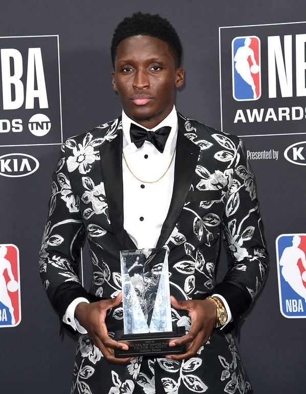. Victor Oladipo, of the Indiana Pacers, poses in the press room with the most improved player award at the NBA Awards on Monday, June 25, 2018, at the Barker Hangar in Santa Monica, Calif. (Photo by Richard Shotwell/Invision/AP)
