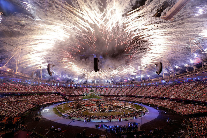 ". In this Friday, July 27, 2012, file photo, fireworks explode during the Opening Ceremony at the 2012 Summer Olympics, in London. In Google\'s 12th annual roundup of global trending searches, ""Olympics 2012\"" was ranked at seventh. \""Olympics 2012\"" ranked as Google\'s third most searched trending event of 2012. (AP Photo/Paul Sancya)"