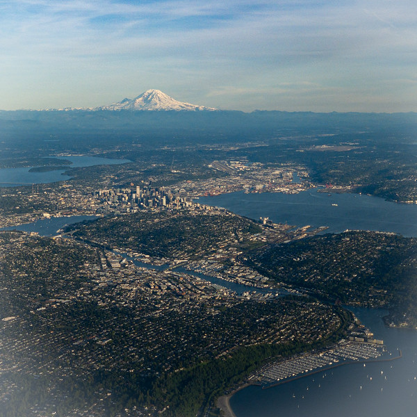 Aerial view of Mt. Rainier and Seattle, Washington
