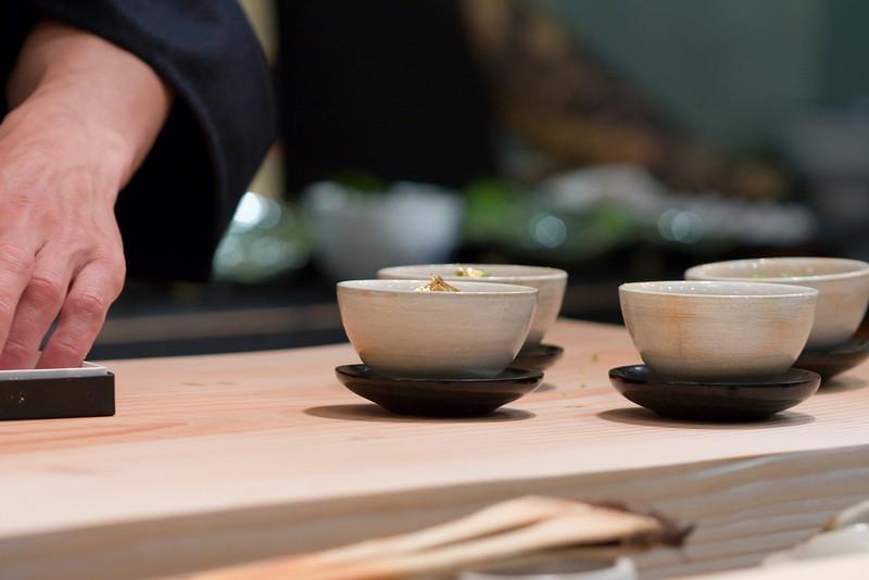 Course #3: Edamabe Tofu with Sea Urchin, Salmon Eggs, Shrimp, Vegetable and 24K Gold Flakes