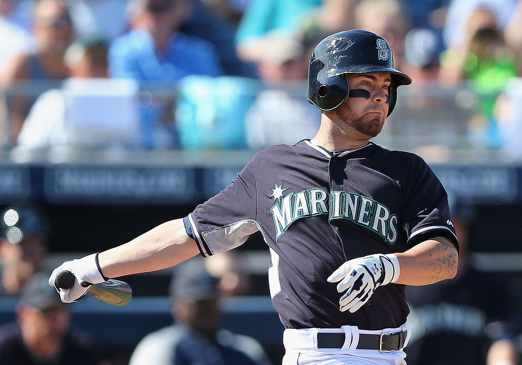 . Nick Franklin #6 of the Seattle Mariners hits a RBI double against the Colorado Rockies during the fifth inning of the spring training game at Peoria Stadium on March 3, 2014 in Peoria, Arizona.  (Photo by Christian Petersen/Getty Images)
