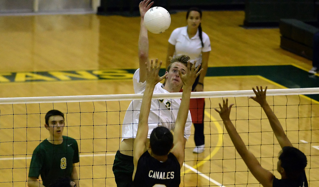 . Damien\'s Chris Jorritsma scores against Santa Fe in the second game of a prep volleyball match at Damien High School in La Verne, Calif., on Wednesday, May 20, 2015. Damien won 25-17, 25-19, 29-27. (Photo by Keith Birmingham/ Pasadena Star-News)