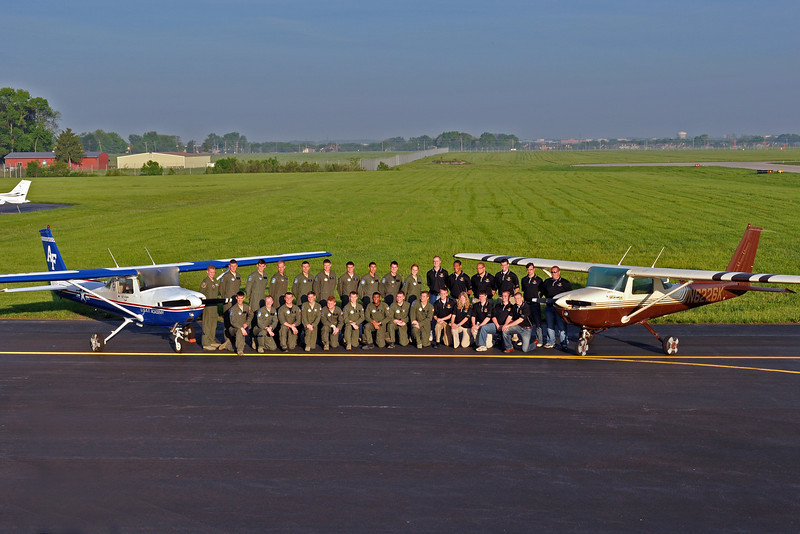 The USAF Academy and Western Michigan University flight teams pose with N6226K, Jeff's competition airplane, in memory of Jeff.