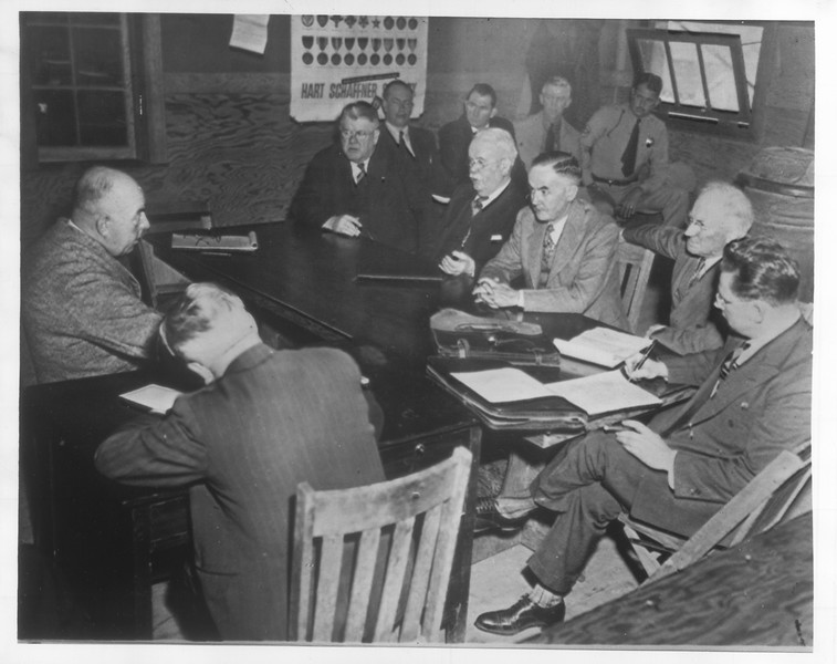 """""""Shown is the Senate Committee as investigations get underway at the Tule Lake Japanese camp"""" -- caption on photograph"""
