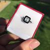 1.19ct Vintage Emerald Cut Diamond Onyx Ring, GIA E VS2 5