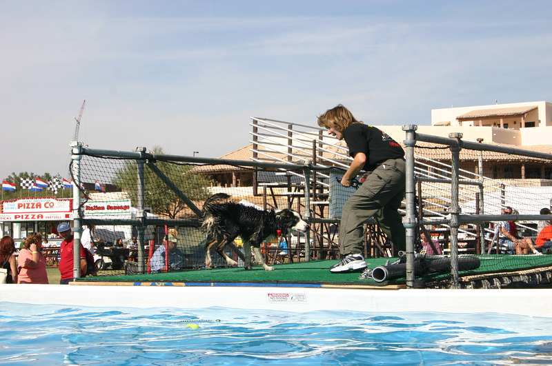 Sarah J and Trooper revving up to plunge into the dock dog tank...