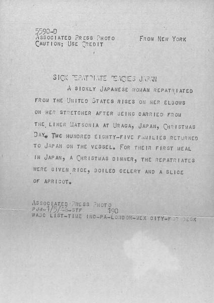 """Sick Repatriate Reaches Japan"" -- caption on photograph"