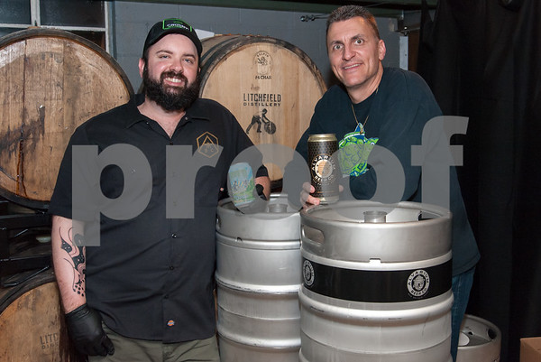 12/21/17 Wesley Bunnell | Staff Alvarium Beer celebrated their collaboration brewday with Terrapin Beer on Thursday with a celebration open to the public. Brewers Chris DeGasero from Alvarium and Brian Spike Buckowski from Terrapin.