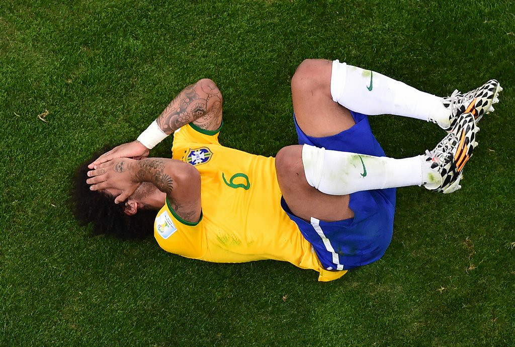 ". <p><b> The Brazilians� 7-1 loss on Monday is the biggest rout pulled off by the Germans since their � </b> <p> A. Rout of Saudi Arabia in 2002  <p> B. Rout of Poland in 1939 <p> C. Rout of the Ottoman Turks in 1683 <p><b><a href=\'http://ftw.usatoday.com/2014/07/brazils-devestating-loss-to-germany-is-the-worst-world-cup-loss-in-history\' target=""_blank\"">LINK</a></b> <p>    (AP Photo/Francois Xavier Marit, Pool)"