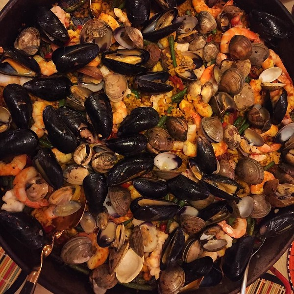 On the table tonite: seafood #paella since it was 70+ degrees in Chicago in FEBRUARY!!!