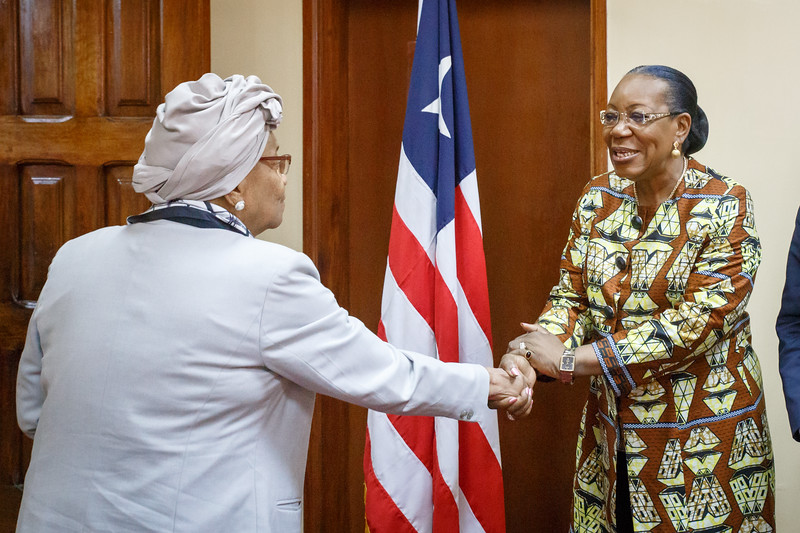 Monrovia, Liberia October 12, 2017 - Madame Samba-Panza and TCC leadership meeting with Liberian President Ellen Johnson Sirleaf.