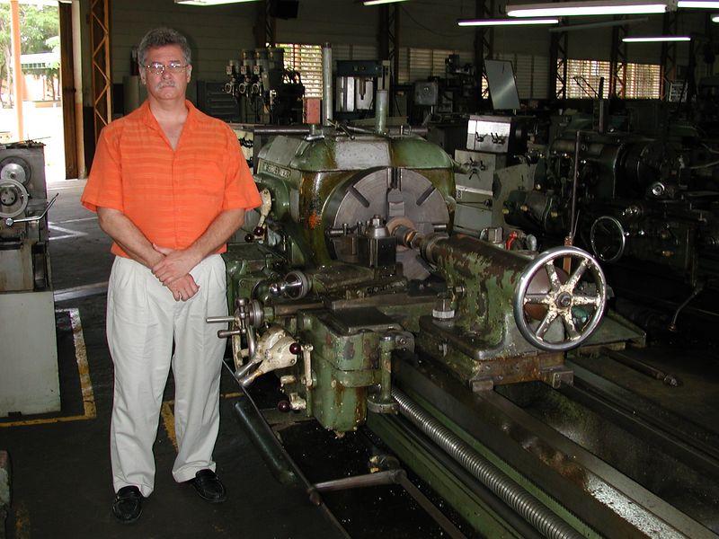 Me at the local machine shop in Santa Domingo.