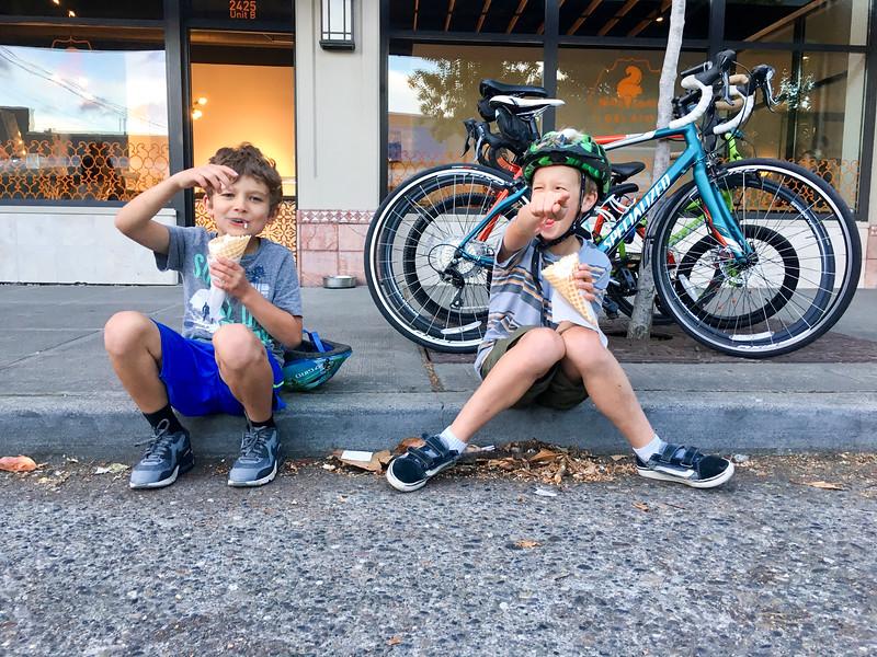 Connor and Max gelato bike ride