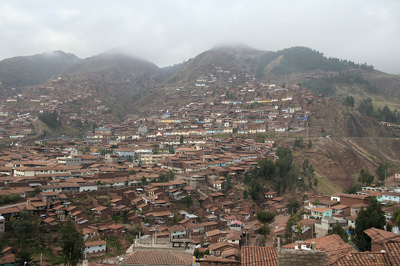 View of Cuzco from one of the switchbacks on the train to Aguas Calientes (Machu Picchu).