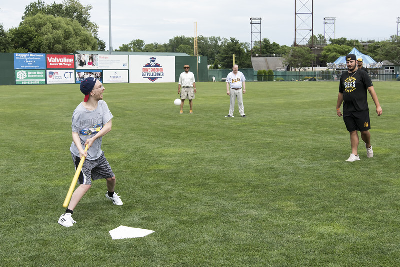 07/02/19  Wesley Bunnell | Staff  The New Britain Bees welcomed group home members to New Britain Stadium as part of the Beautiful Lives Project on Tuesday July 2, 2019.Bees players and coaches played wiffle ball games on the outfield grass with the participants.  David Fugere from Journey Found takes his at bat.