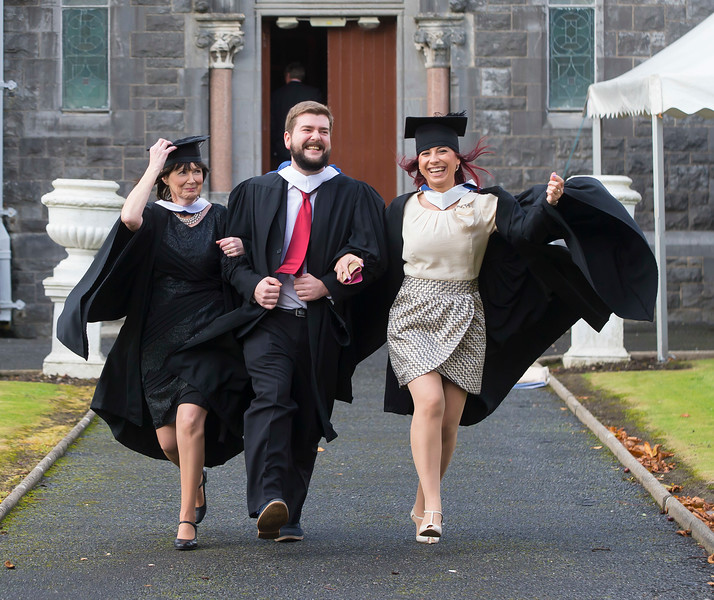 28/10/2015. FREE TO USE IMAGE. WIT (Waterford Institute of Technology) conferring ceremony at WIT College Street Campus, Waterford. Pictured are Diane Cotter, Dungarvan, Co. Waterford, George Frister, Wexford and Georgiana Chitas, Waterford  who graduated BA in Social Care. Picture: Patrick Browne