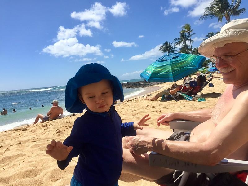 Leif & Grandpa Sheldon at Poipu Beach