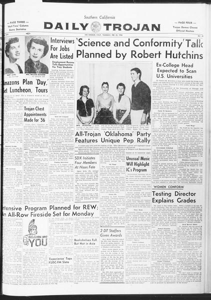 Daily Trojan, Vol. 47, No. 81, February 23, 1956