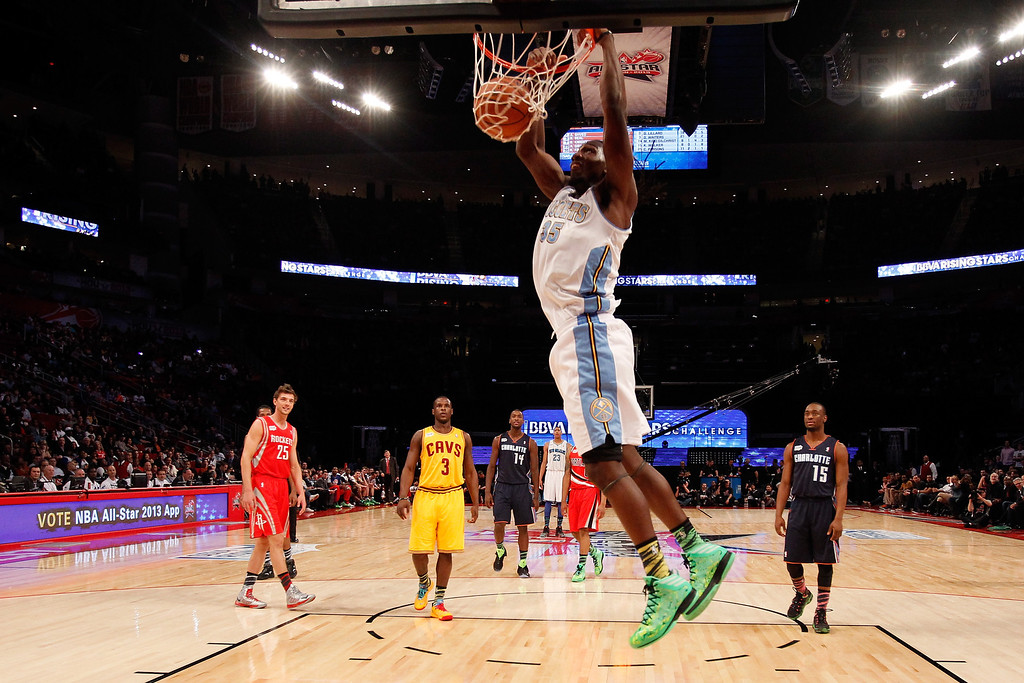 . HOUSTON, TX - FEBRUARY 15:  Kenneth Faried #35 of the Denver Nuggets and Team Chuck dunks the ball in the second half in the BBVA Rising Stars Challenge 2013 part of the 2013 NBA All-Star Weekend at the Toyota Center on February 15, 2013 in Houston, Texas.   (Photo by Lucy Nicholson/Pool/Getty Images)